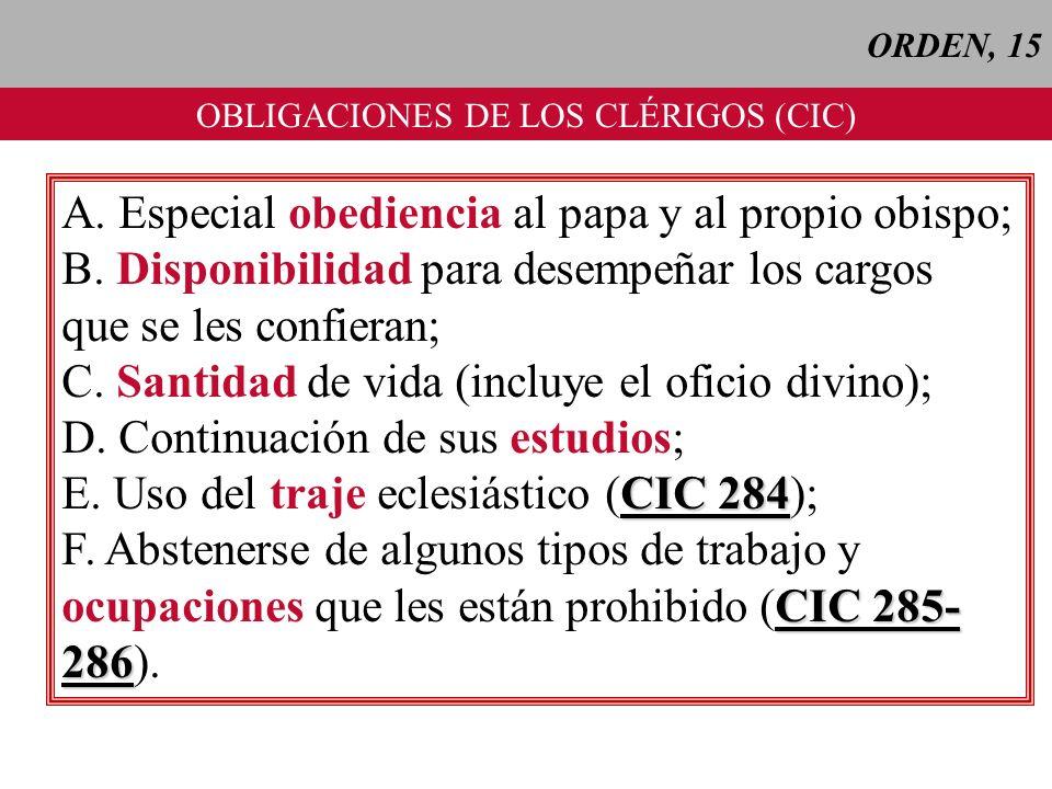 OBLIGACIONES DE LOS CLÉRIGOS (CIC)
