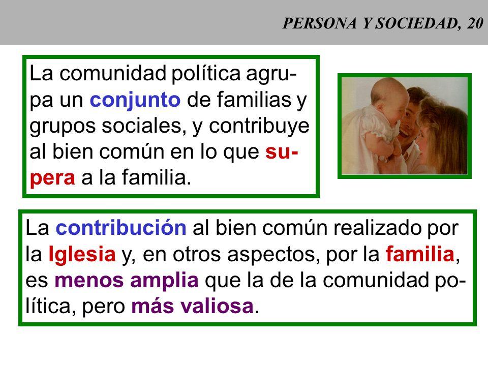 La comunidad política agru- pa un conjunto de familias y