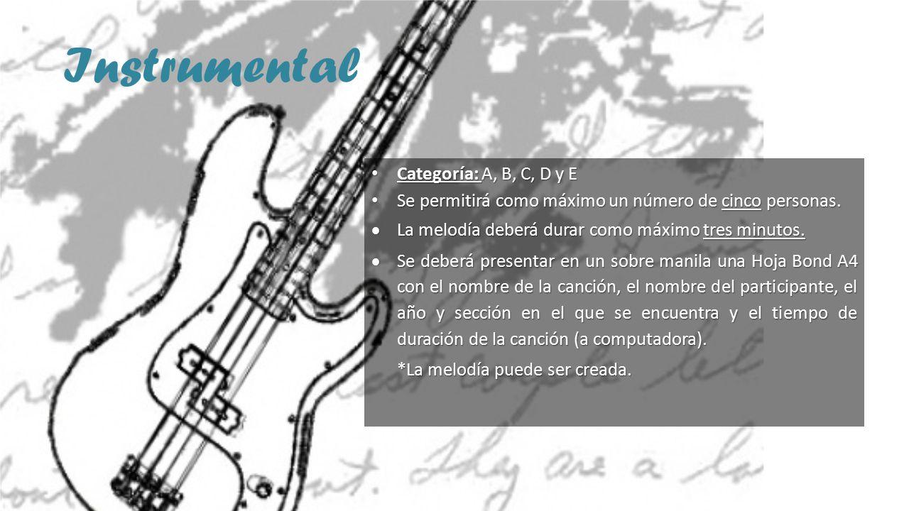 Instrumental Categoría: A, B, C, D y E