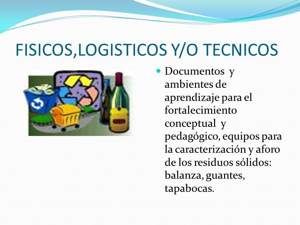 FISICOS,LOGISTICOS Y/O TECNICOS