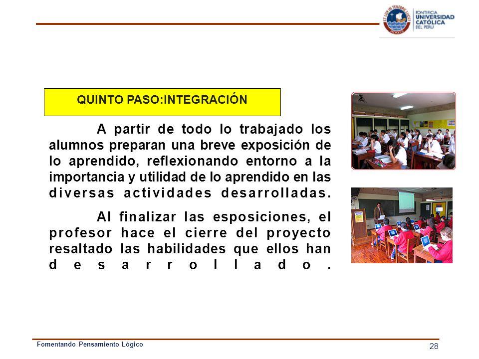 QUINTO PASO:INTEGRACIÓN