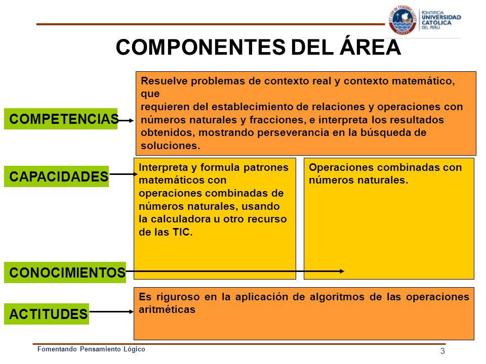 COMPONENTES DEL ÁREA COMPETENCIAS CAPACIDADES CONOCIMIENTOS ACTITUDES