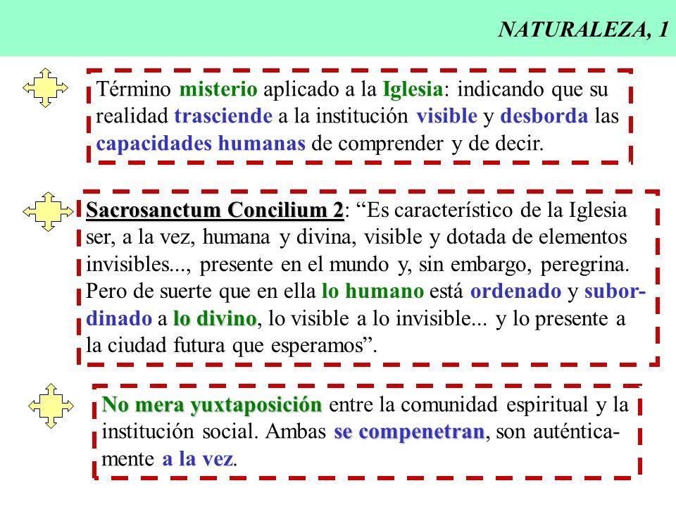 NATURALEZA, 1 Término misterio aplicado a la Iglesia: indicando que su. realidad trasciende a la institución visible y desborda las.