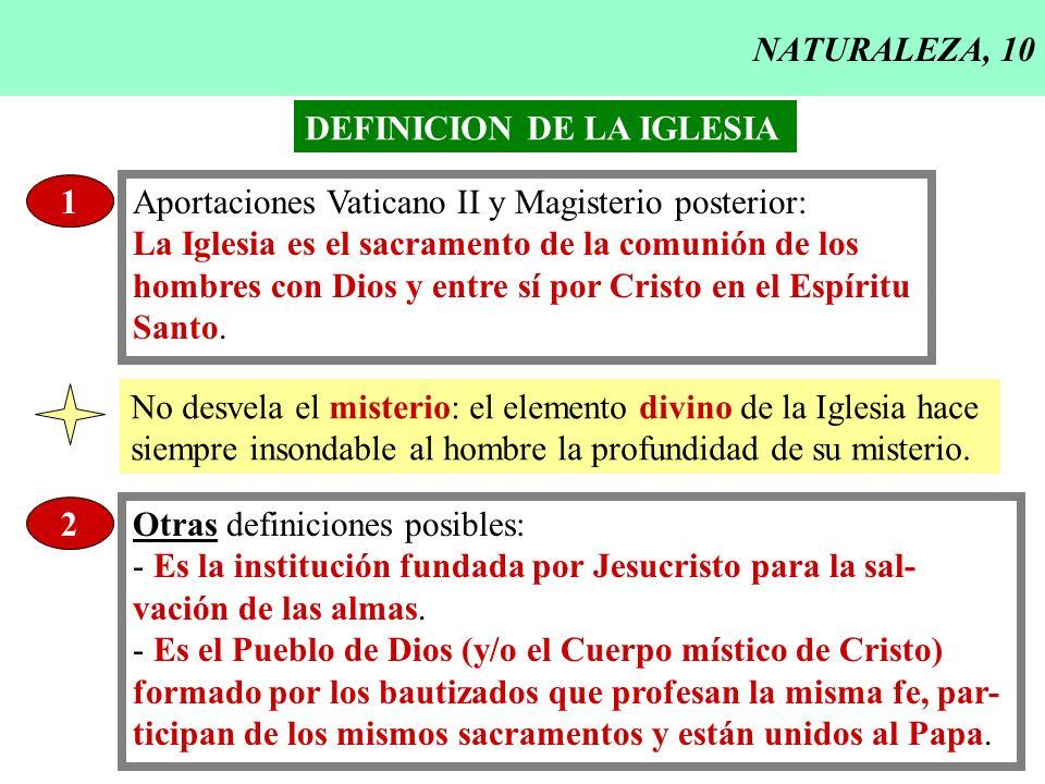 NATURALEZA, 10 DEFINICION DE LA IGLESIA. 1. Aportaciones Vaticano II y Magisterio posterior: La Iglesia es el sacramento de la comunión de los.