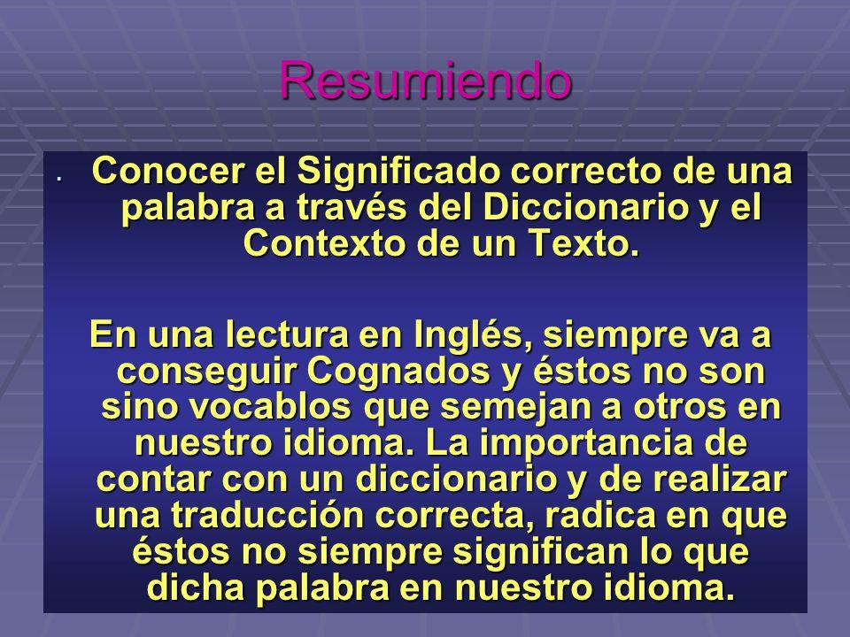 Resumiendo Conocer el Significado correcto de una palabra a través del Diccionario y el Contexto de un Texto.
