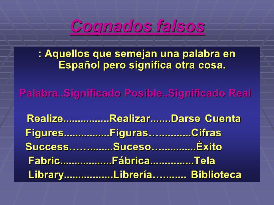 Cognados falsos : Aquellos que semejan una palabra en Español pero significa otra cosa. Palabra..Significado Posible..Significado Real.
