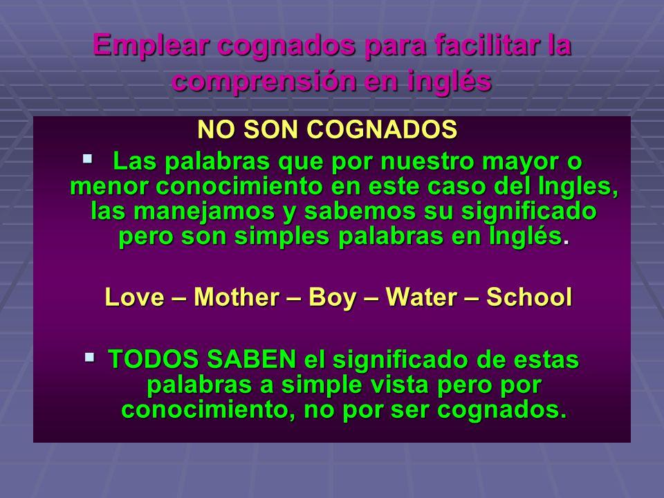 Emplear cognados para facilitar la comprensión en inglés