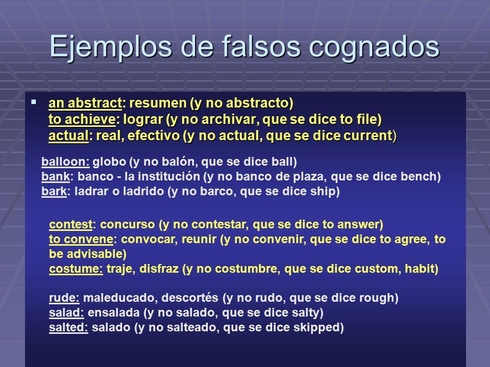 Ejemplos de falsos cognados