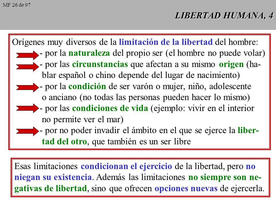 Orígenes muy diversos de la limitación de la libertad del hombre: