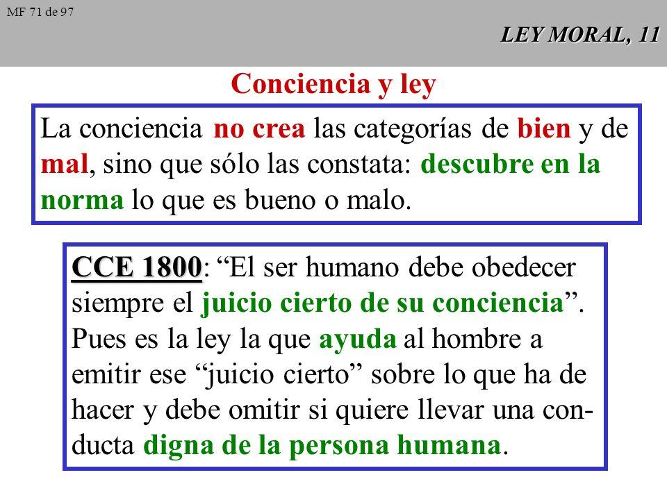 La conciencia no crea las categorías de bien y de