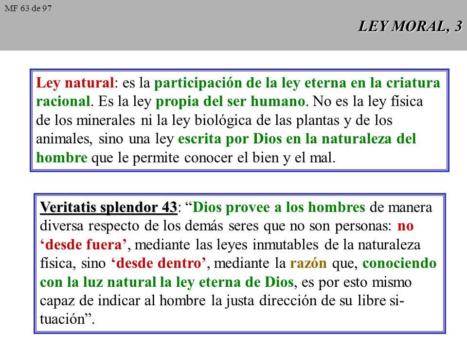 Ley natural: es la participación de la ley eterna en la criatura