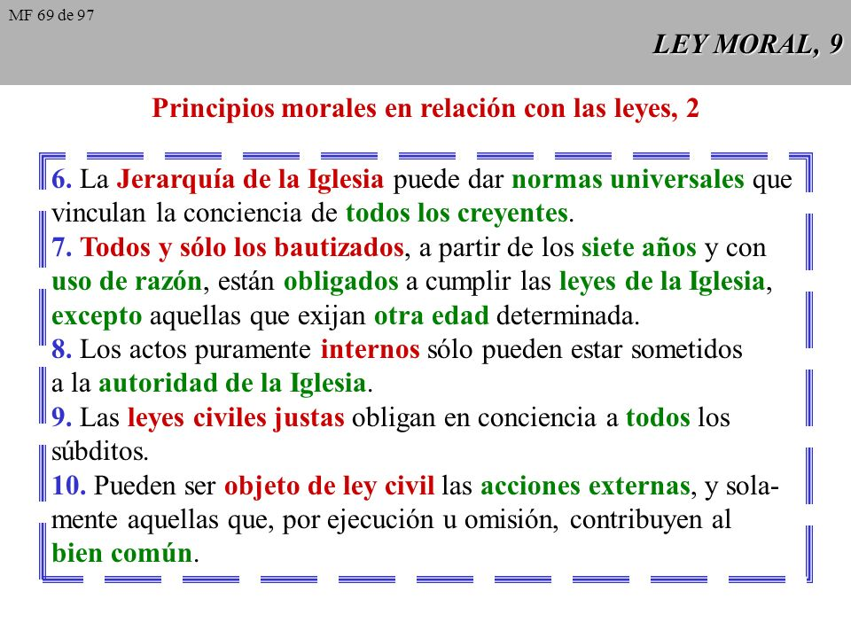 Principios morales en relación con las leyes, 2