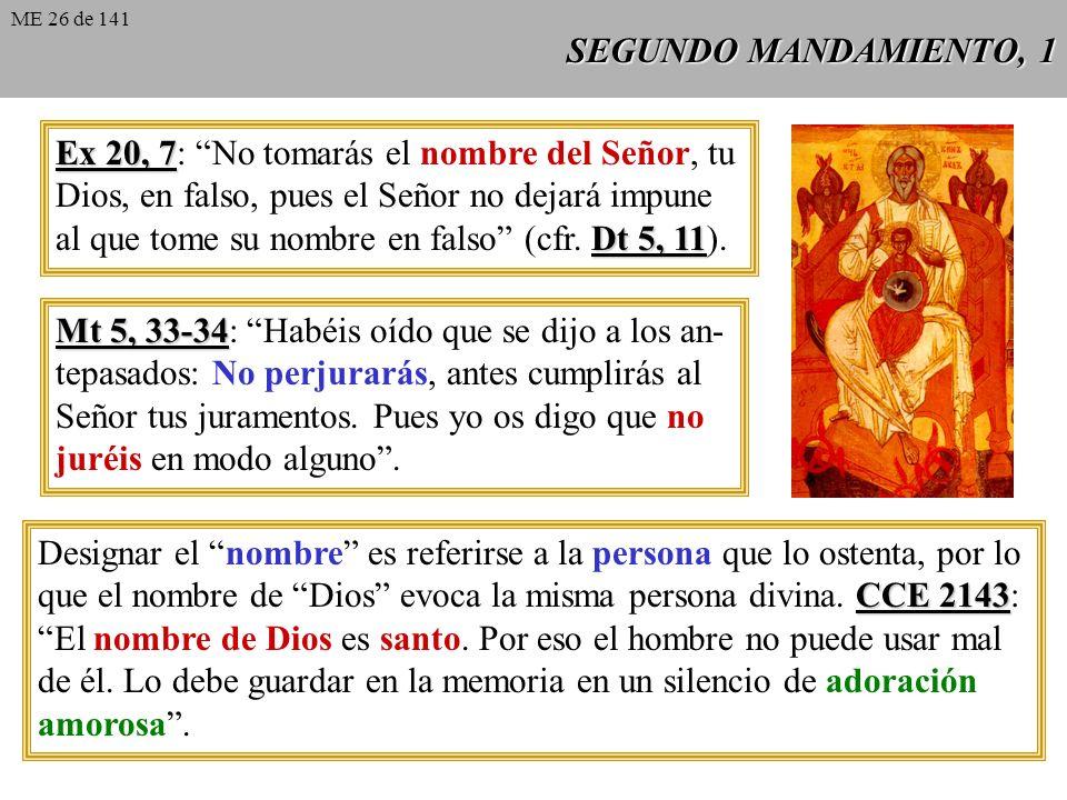 Ex 20, 7: No tomarás el nombre del Señor, tu
