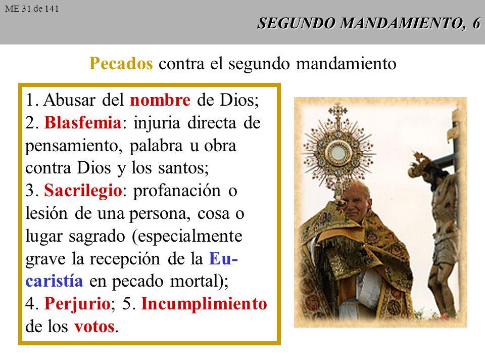 Pecados contra el segundo mandamiento