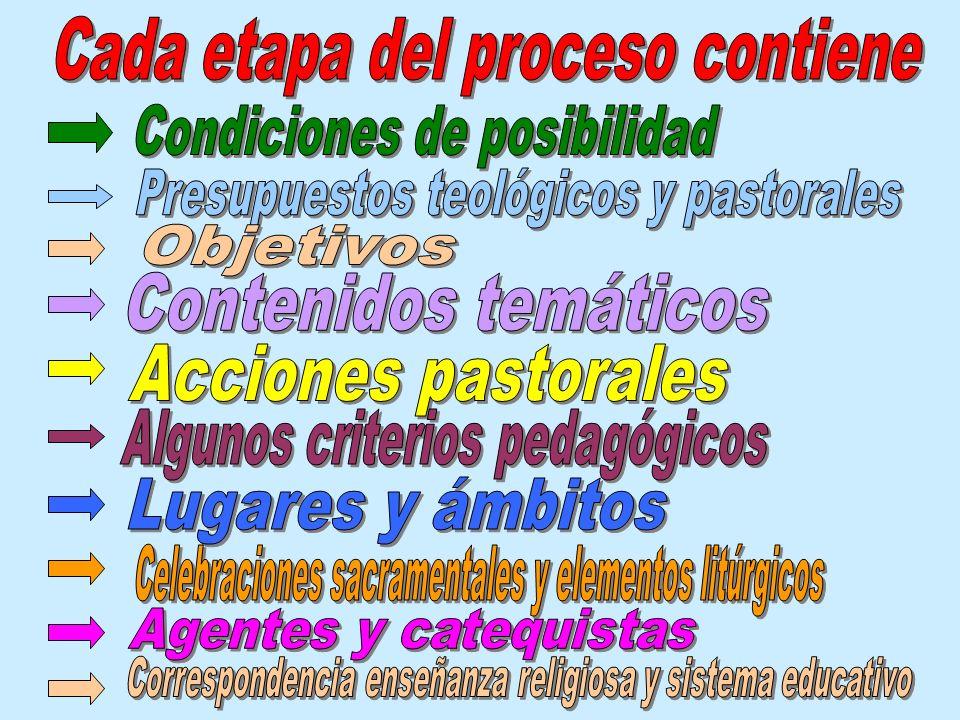 Cada etapa del proceso contiene