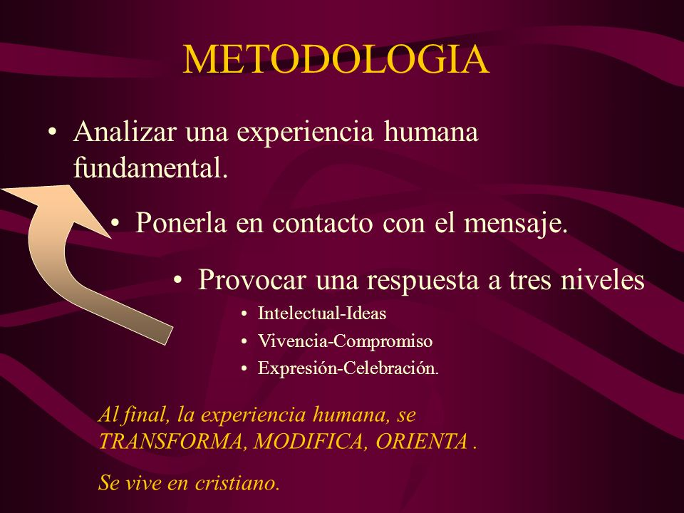 METODOLOGIA Analizar una experiencia humana fundamental.