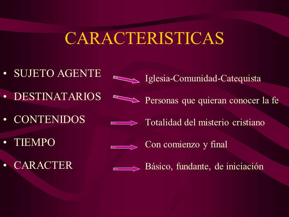 CARACTERISTICAS SUJETO AGENTE DESTINATARIOS CONTENIDOS TIEMPO CARACTER
