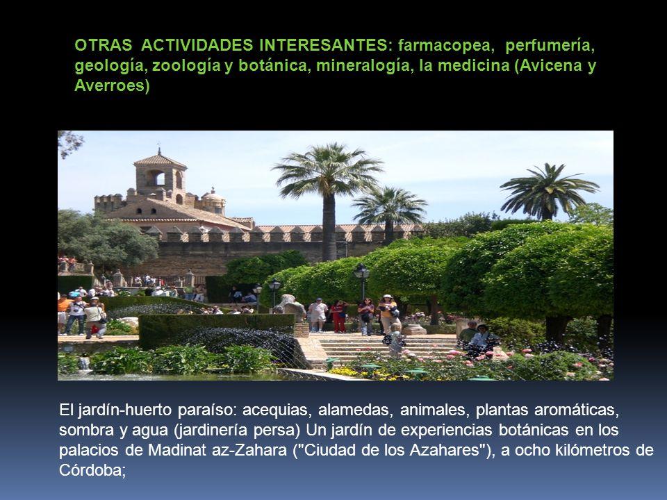 OTRAS ACTIVIDADES INTERESANTES: farmacopea, perfumería, geología, zoología y botánica, mineralogía, la medicina (Avicena y Averroes)