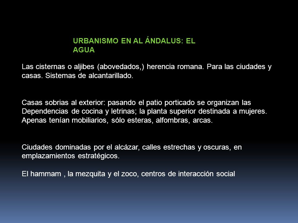 URBANISMO EN AL ÁNDALUS: EL AGUA