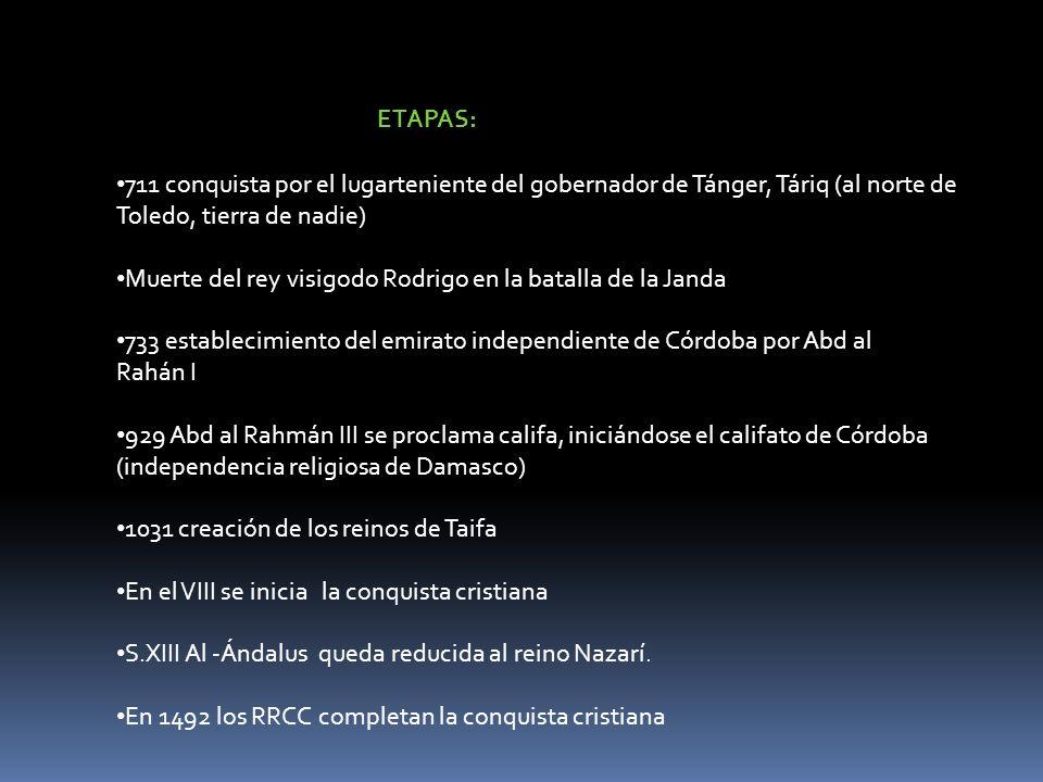 ETAPAS:711 conquista por el lugarteniente del gobernador de Tánger, Táriq (al norte de Toledo, tierra de nadie)