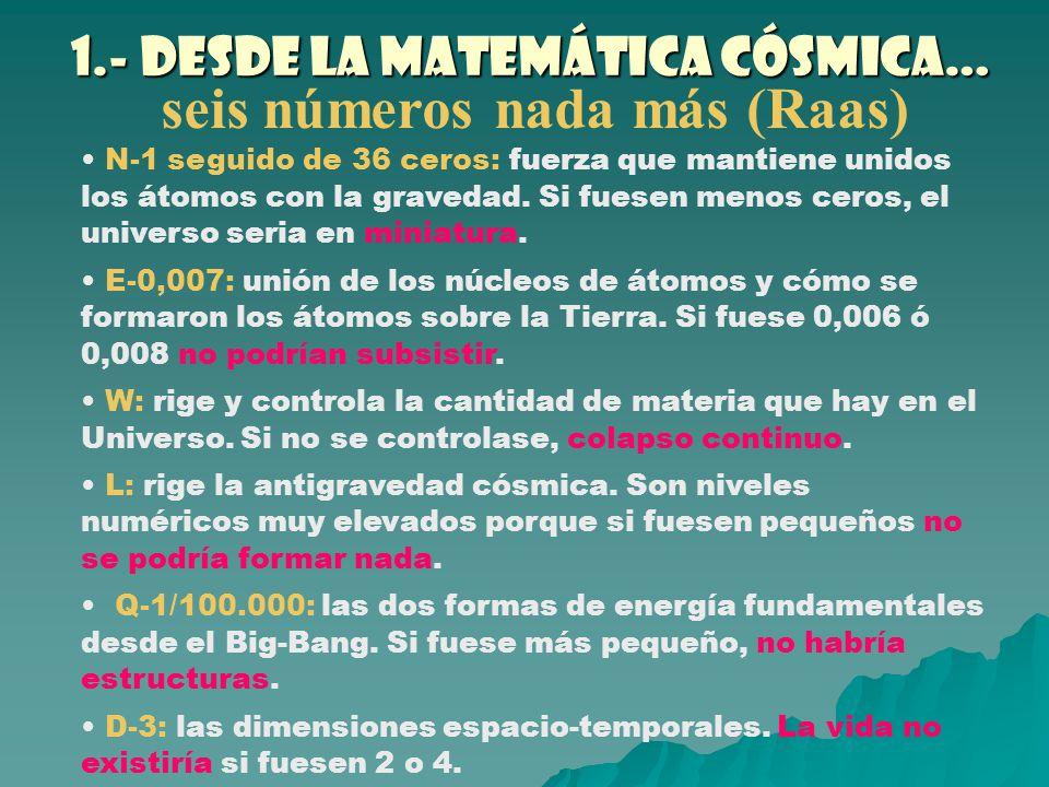 1.- Desde la matemática cósmica…