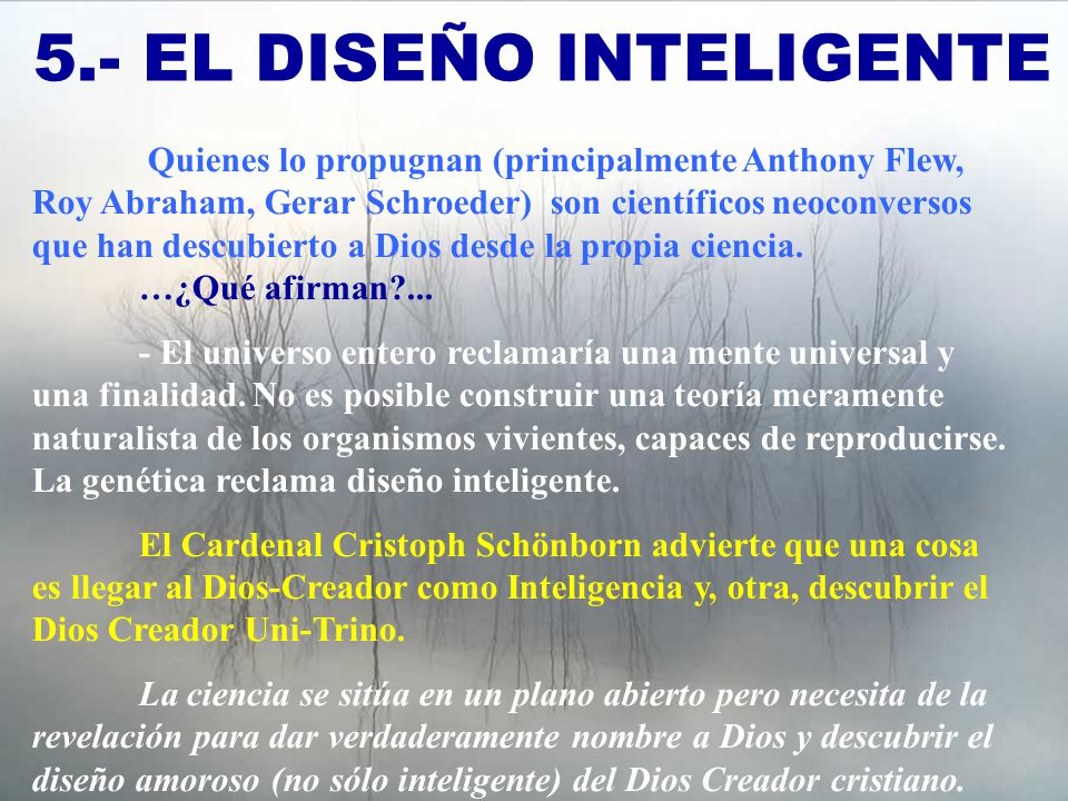 5.- EL DISEÑO INTELIGENTE