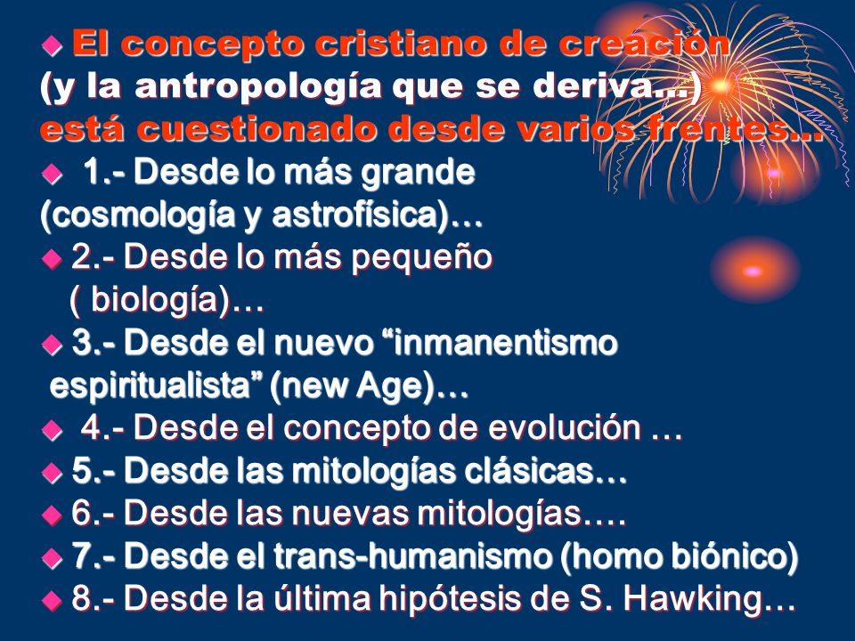 El concepto cristiano de creación (y la antropología que se deriva…)