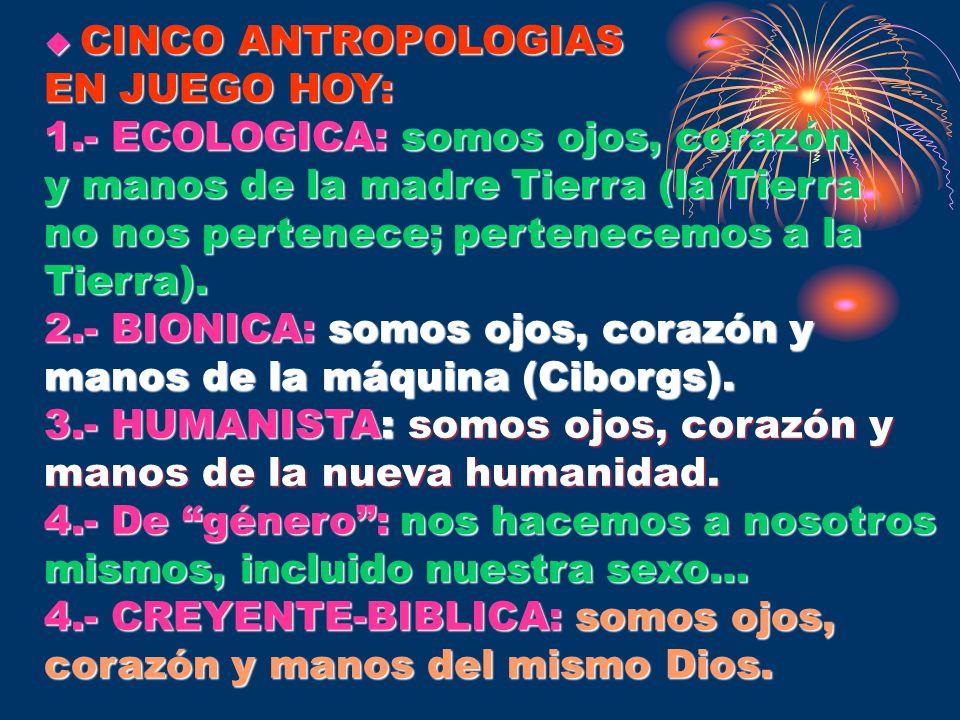 CINCO ANTROPOLOGIAS EN JUEGO HOY: 1.- ECOLOGICA: somos ojos, corazón. y manos de la madre Tierra (la Tierra.