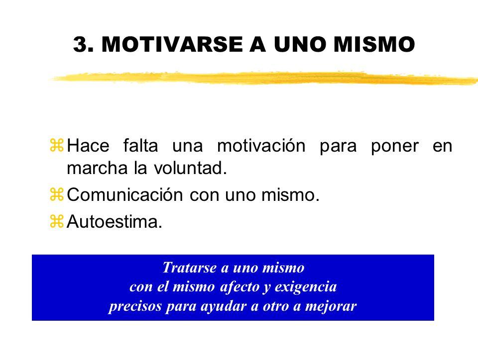 3. MOTIVARSE A UNO MISMO Hace falta una motivación para poner en marcha la voluntad. Comunicación con uno mismo.