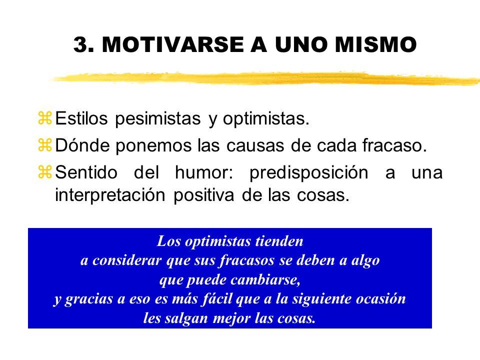 3. MOTIVARSE A UNO MISMO Estilos pesimistas y optimistas.