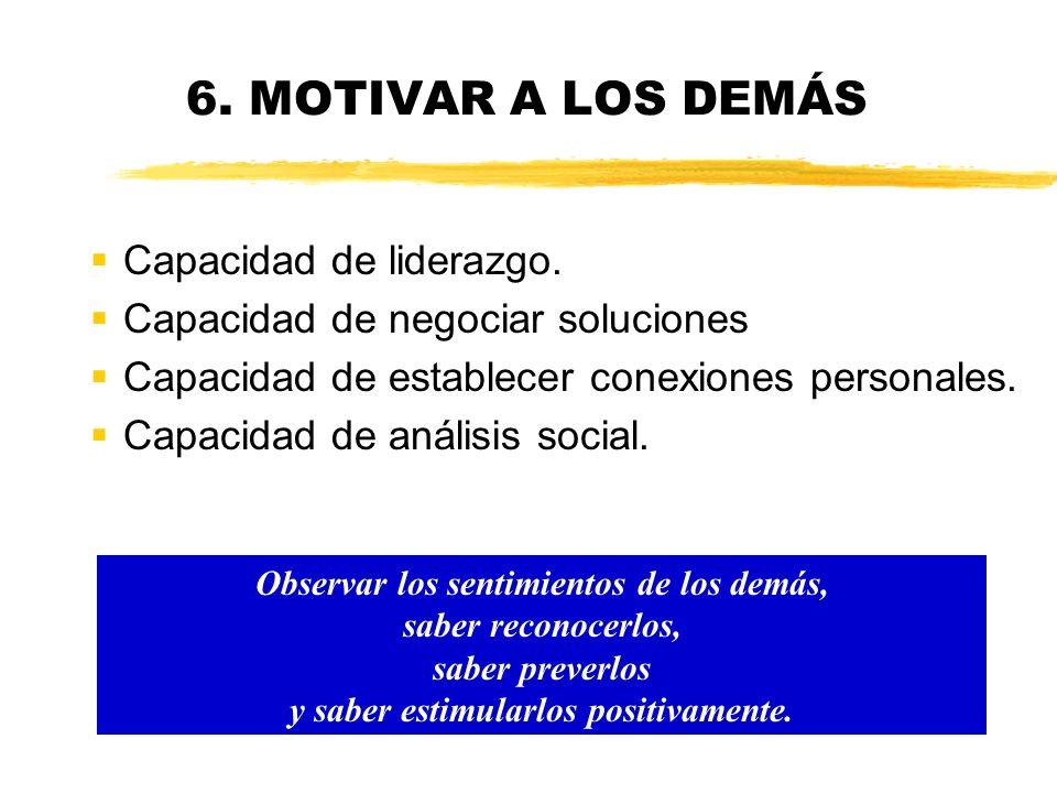 6. MOTIVAR A LOS DEMÁS Capacidad de liderazgo.