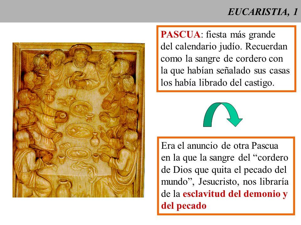EUCARISTIA, 1 PASCUA: fiesta más grande. del calendario judío. Recuerdan. como la sangre de cordero con.