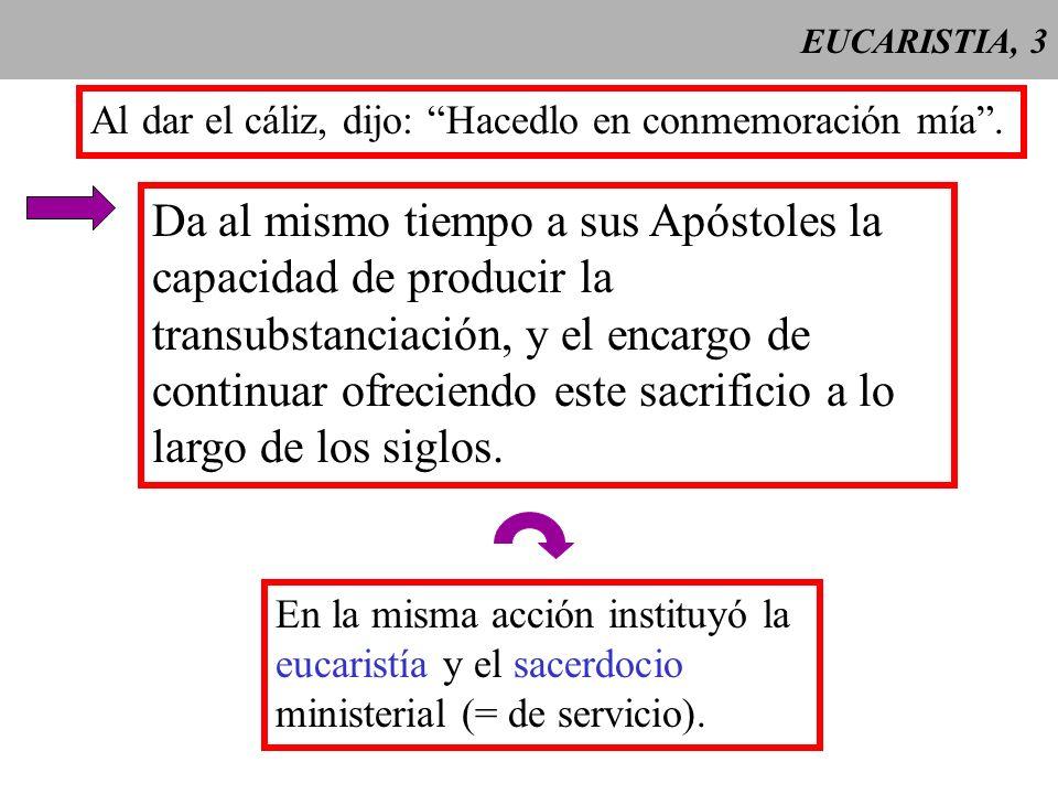 EUCARISTIA, 3Al dar el cáliz, dijo: Hacedlo en conmemoración mía .