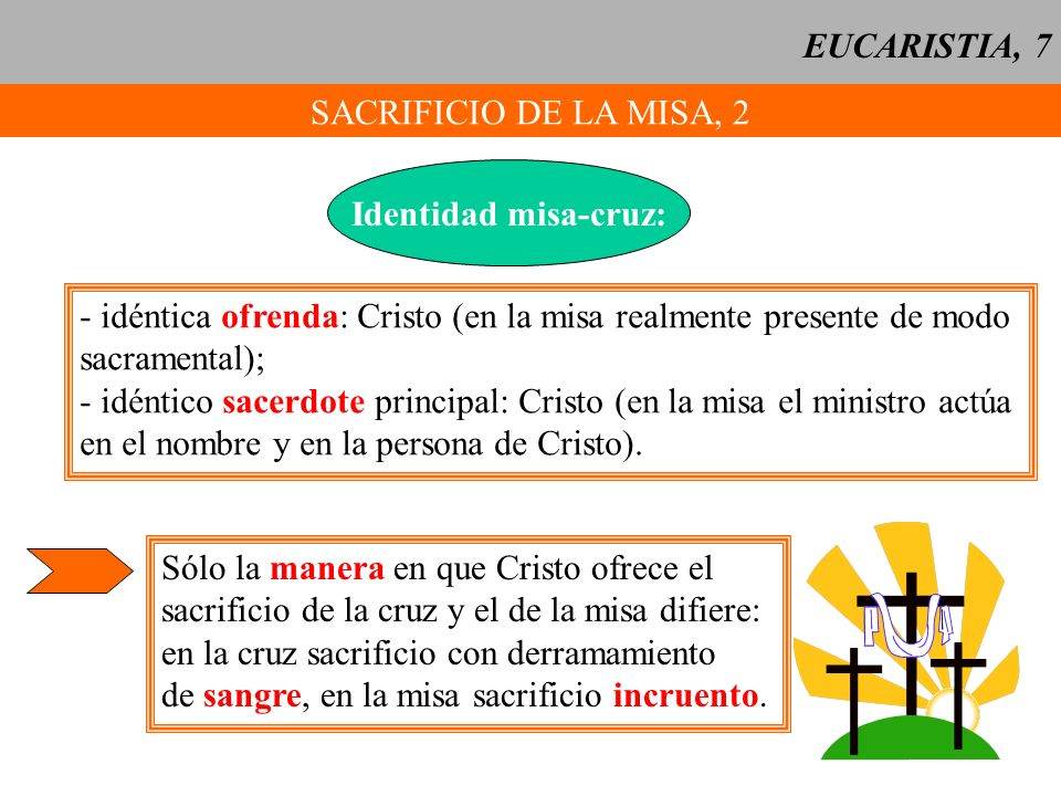 EUCARISTIA, 7 SACRIFICIO DE LA MISA, 2. Identidad misa-cruz: - idéntica ofrenda: Cristo (en la misa realmente presente de modo.