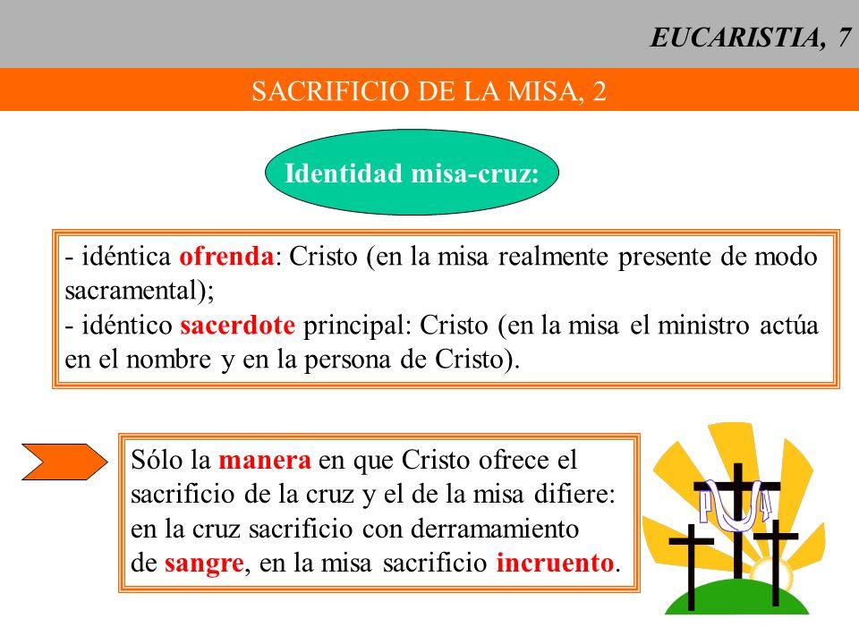EUCARISTIA, 7SACRIFICIO DE LA MISA, 2. Identidad misa-cruz: - idéntica ofrenda: Cristo (en la misa realmente presente de modo.