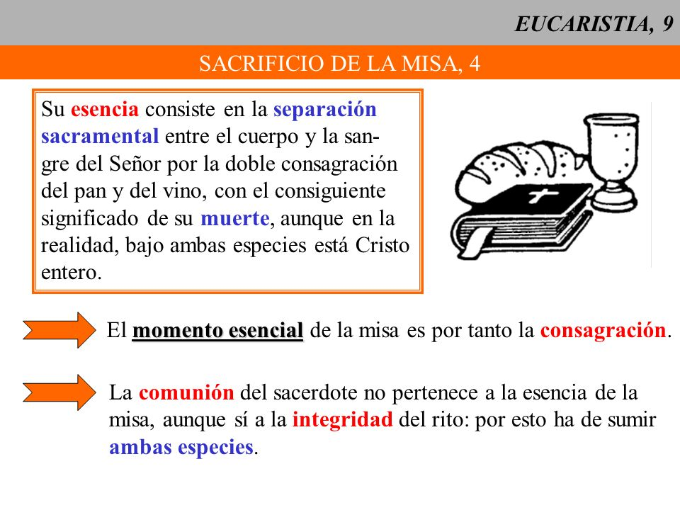 EUCARISTIA, 9 SACRIFICIO DE LA MISA, 4. Su esencia consiste en la separación. sacramental entre el cuerpo y la san-