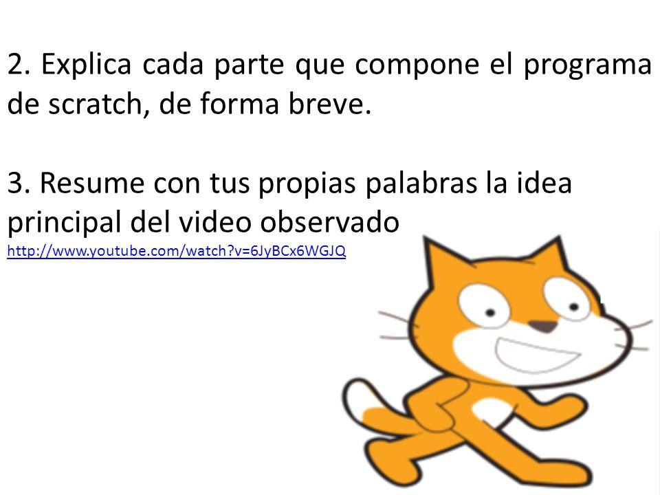 2. Explica cada parte que compone el programa de scratch, de forma breve.