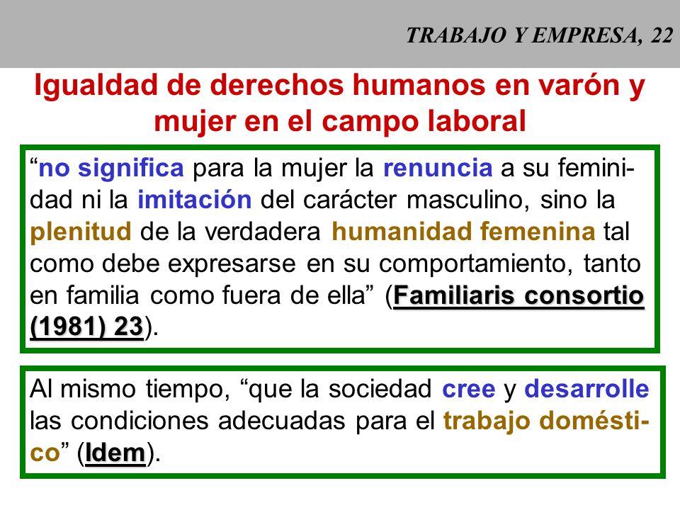 Igualdad de derechos humanos en varón y mujer en el campo laboral