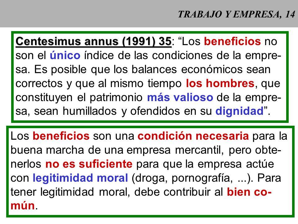 Centesimus annus (1991) 35: Los beneficios no