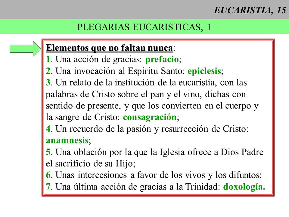PLEGARIAS EUCARISTICAS, 1