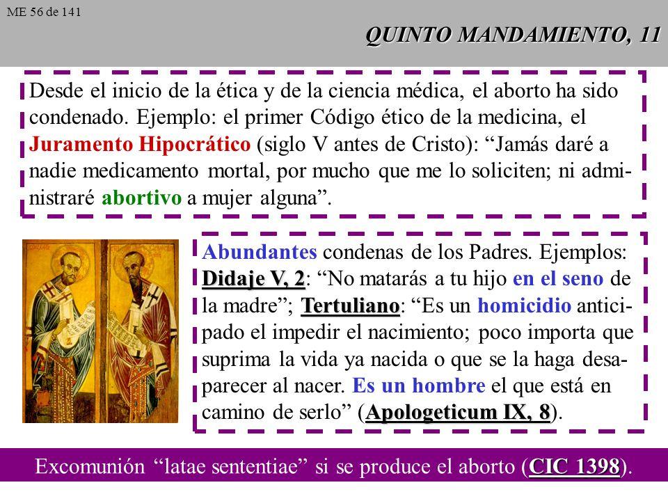Excomunión latae sententiae si se produce el aborto (CIC 1398).