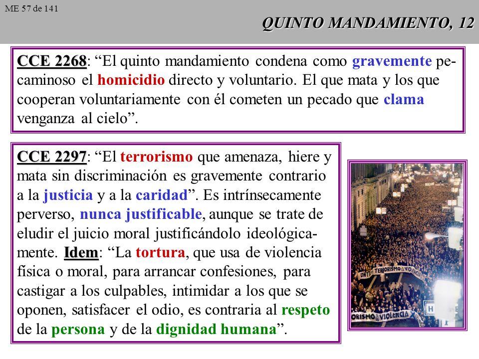 CCE 2268: El quinto mandamiento condena como gravemente pe-