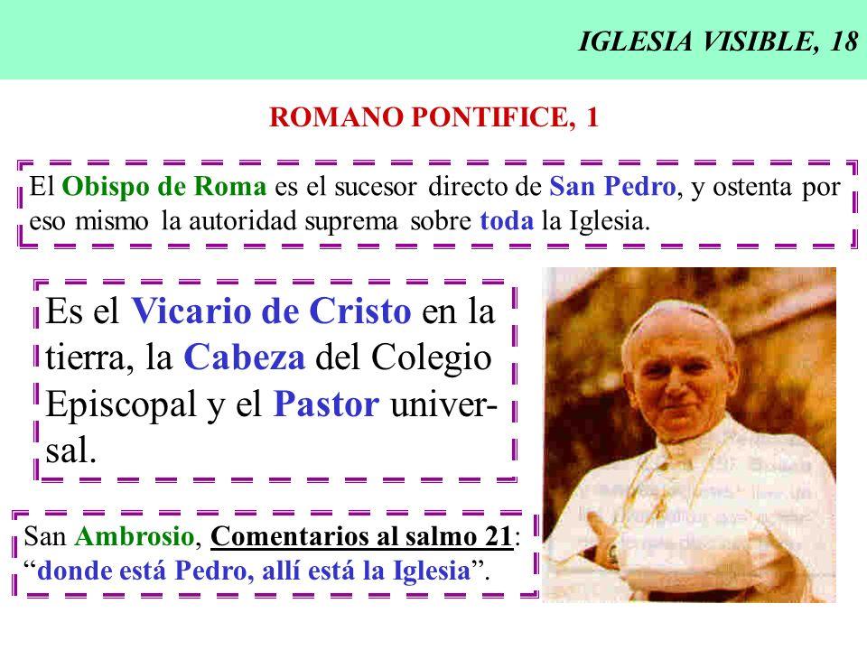 Es el Vicario de Cristo en la tierra, la Cabeza del Colegio