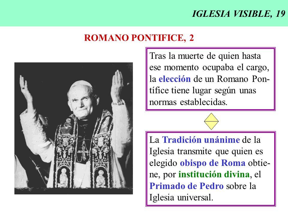 IGLESIA VISIBLE, 19 ROMANO PONTIFICE, 2. Tras la muerte de quien hasta. ese momento ocupaba el cargo,
