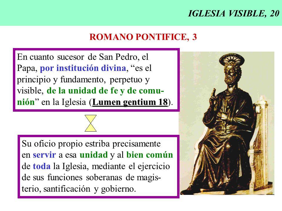 IGLESIA VISIBLE, 20 ROMANO PONTIFICE, 3. En cuanto sucesor de San Pedro, el. Papa, por institución divina, es el.