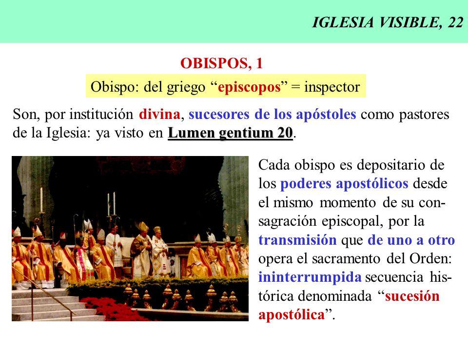 IGLESIA VISIBLE, 22 OBISPOS, 1. Obispo: del griego episcopos = inspector. Son, por institución divina, sucesores de los apóstoles como pastores.