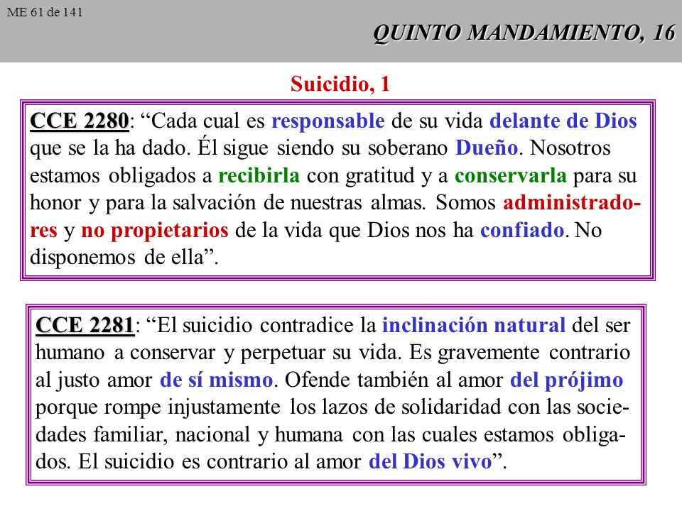 CCE 2280: Cada cual es responsable de su vida delante de Dios
