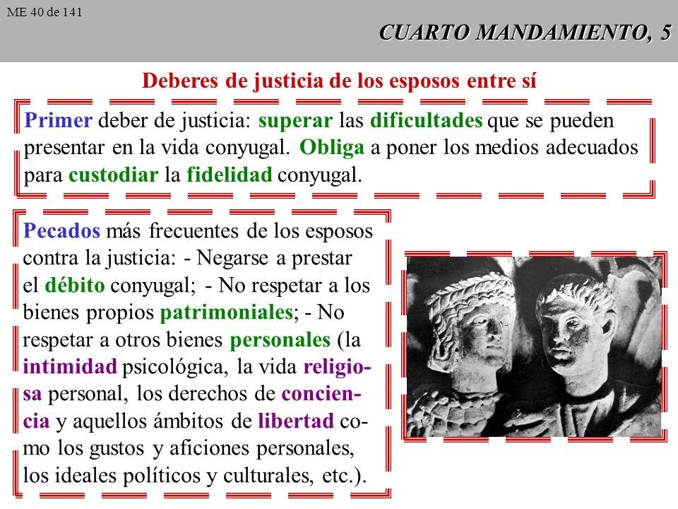 Deberes de justicia de los esposos entre sí