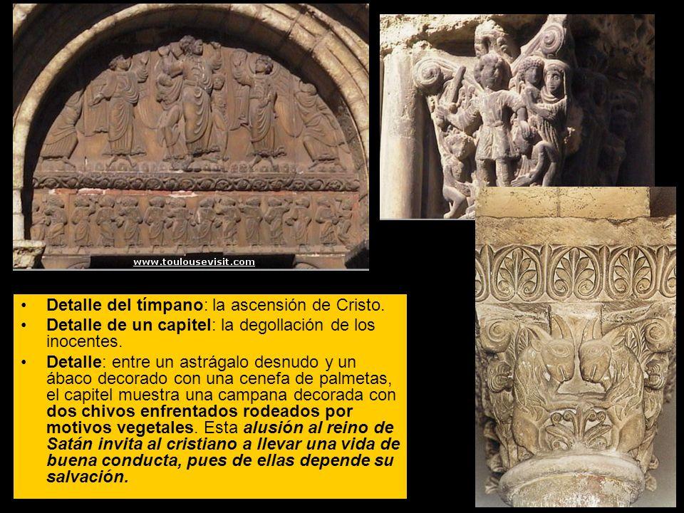 Detalle del tímpano: la ascensión de Cristo.