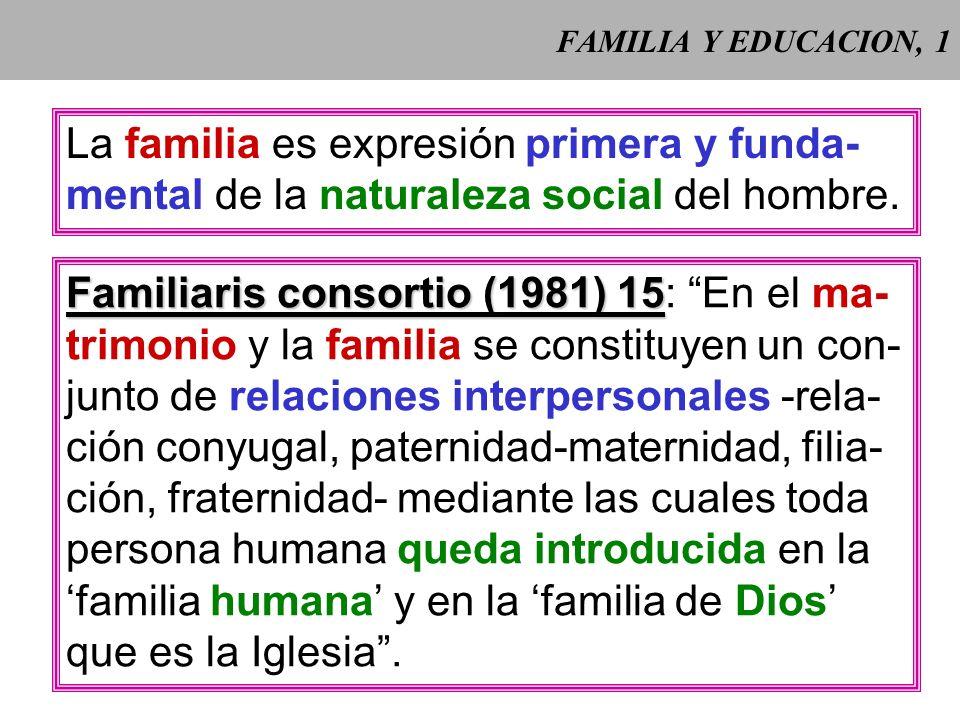 La familia es expresión primera y funda-